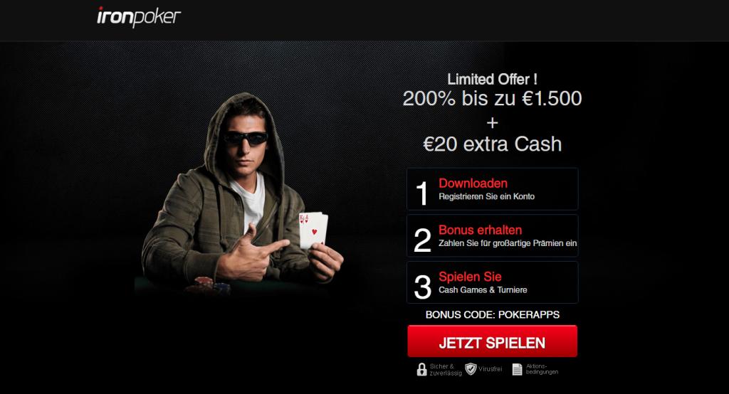 Iron Poker Bonus 20 Euro extra 1024x554